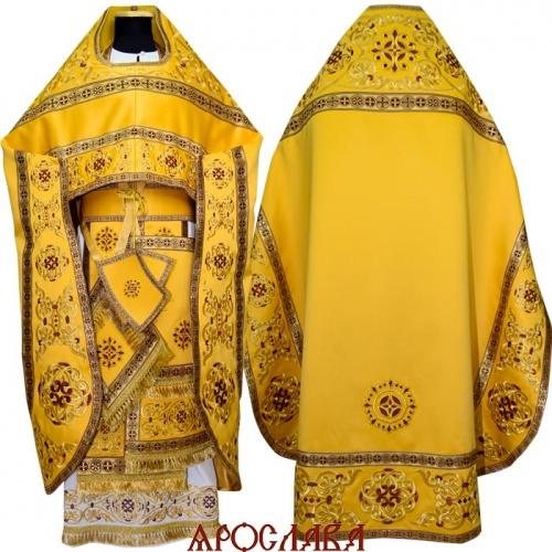 АРТ1014. Риза желтая вышитая рисунок Параскева. Вышитая:власяница, надставка, окошки епитрахили, низ набедренника.