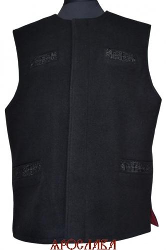 АРТ1017. Жилет черный, два нижних и верхних кармана прорезные, потайная застежка, на подкладе бордовый креп-сатин. Карманы с вышивкой.