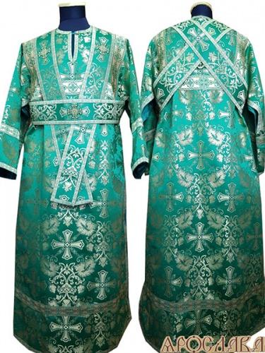 АРТ1059. Иподиаконское  облачение зеленый шелк Курский, отделка цветной галун (зеленый с золотом).