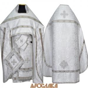 АРТ111.Риза шелк Севастьяновский, отделка цветной галун (белый с серебром)