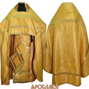 АРТ112.Риза желтый шелк Шуйский,отделка цветной галун (цвет золото)