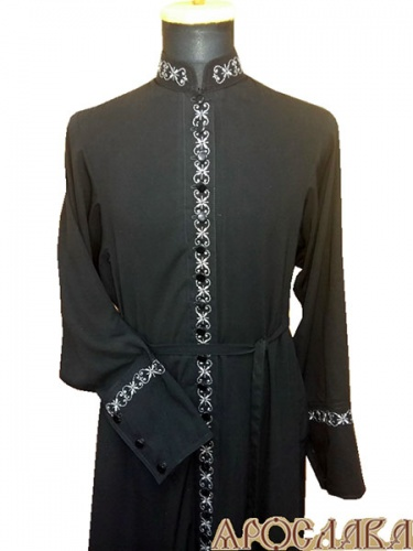 АРТ1153. Подрясник-платье основа русская, ворот греческий, 33 пуговицы,ткань вискоза. Вышитый рис №12:ворот, планка, манжеты.