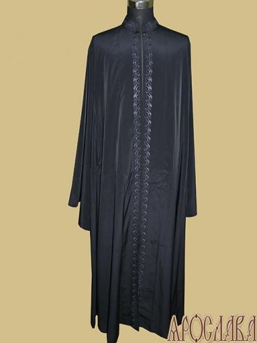АРТ1163. Ряса греческая, ткань мокрый шелк. Вышитый  рис. №2: ворот, борта.