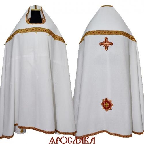 АРТ1174. Риза старообрядческая с увеличенным передним свесом,ткань лен, отделка цветной галун (красный с золотом).