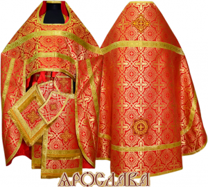 АРТ125. Риза красная шелк Златоуст, обыденная отделка (галун цвет золото)