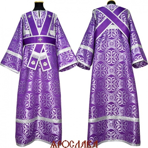 АРТ1297. Иподиаконское  облачение фиолетовый шелк Крупная вербена, обыденная отделка (цвет серебро). В окошках ораря вышитые херувимы.