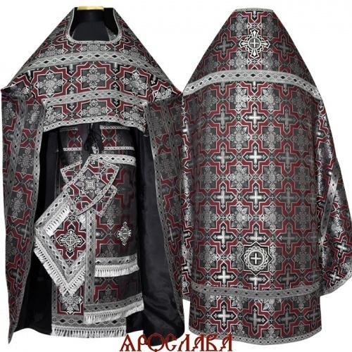 АРТ1298. Риза черно-бордовая шелк Кустодия, отделка цветной галун (черный с серебром).