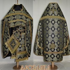 АРТ130. Риза черная с золотом шелк Вифлеем, отделка цветной галун (черный с золотом).