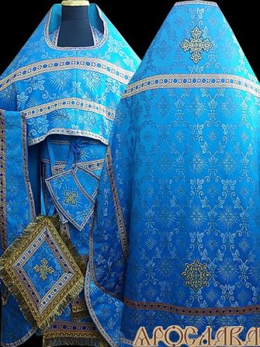 АКЦИЯ. АРТ1352. Риза голубая парча Виноградная лоза.