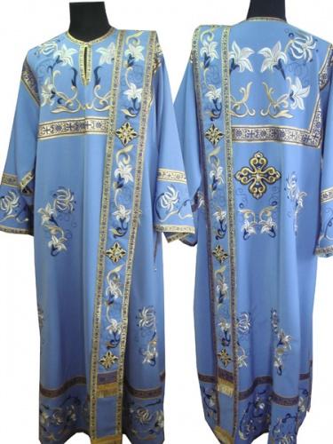 АРТ1397. Диаконское облачение с вышивкой рис.Лилия Мария: кокетка, низ рукава,низ и внутри платья, орарь. Отделка цветной галун.