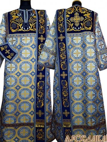 АРТ1402. Диаконское облачение голубая парча Троицкий,комбинированная с вышивкой рис.Эдем: кокетка, орарь,поручи. Отделка цветной галун.