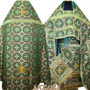 АРТ151. Риза зеленая шелк Троицкий, отделка цветной галун (зеленый с золотом).