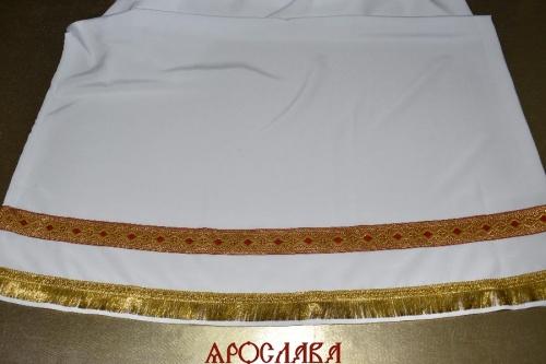 АРТ1540. Подризник с отделкой цветным галуном рисунок Волна (красный с золотом). Ширина галуна 4см. С бахромой.