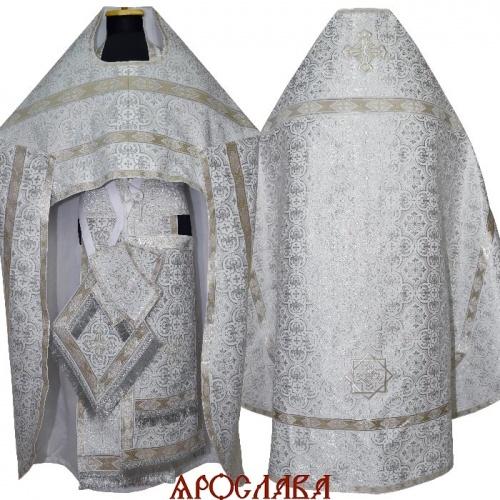 АРТ1543. Риза белая с серебром парча Василия, отделка цветной галун(белый с серебром).