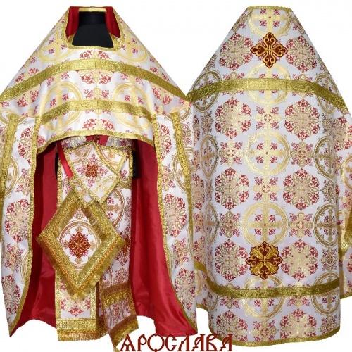 АРТ1544. Риза красная шелк Почаевский, обыденная отделка (галун цвет золото)