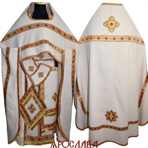 АРТ1555. Риза лен, отделка цветной галун (бордовый с золотом).