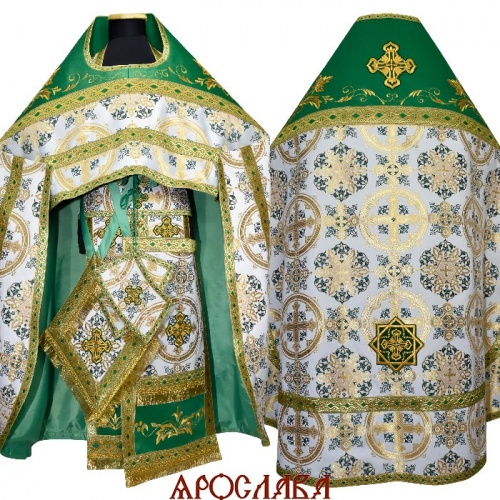 АРТ1564. Риза зеленый шелк Почаевский. Комбинированная с вышивкой рисунок Благородный: власяница, окошки епитрахили, низ набедренника.