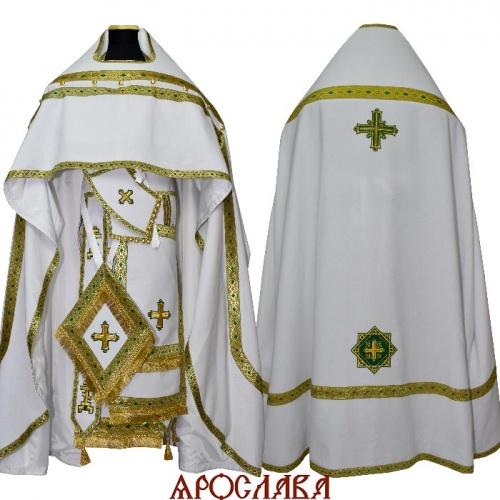 АРТ1586. Риза старообрядческая, белый лен, отделка цветной галун (зеленый с золотом).