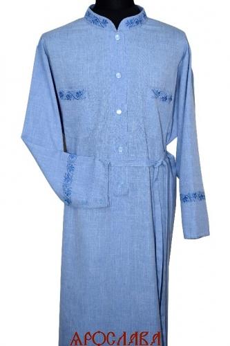 АРТ1587. Подрясник-платье основа греческая. Ткань меланж. Вышивка рис Виноград №19: ворот,нагрудные карманы, манжеты.