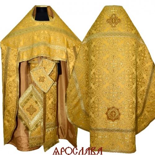 АРТ1593.Риза желтая парча Алтайский, отделка цветной галун (цвет золото)