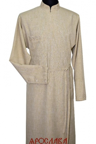 АРТ1601. Подрясник греческий. Ткань меланж. Вышивка рис Колосья №23: ворот, нагрудные карманы, манжеты.