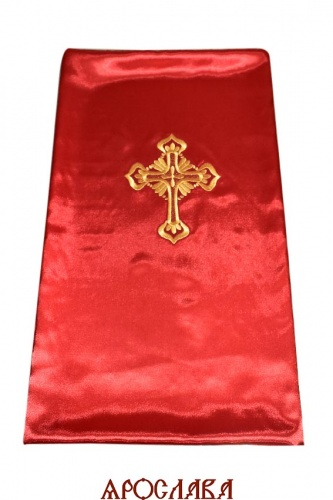 АРТ1610. Катапетасма. Ткань креп-сатин. Вышитый крест на замше.