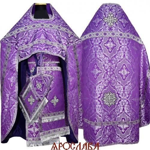 АРТ1621. Риза фиолетовый с серебром шелк Донской, отделка цветной галун(фиолетовый с серебром).