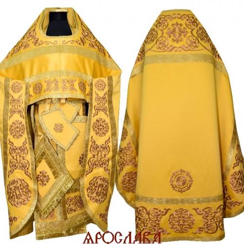 АРТ1635. Риза желтая вышитая рисунок Параскева. Вышитая:власяница, надставка, окошки епитрахили, низ набедренника.