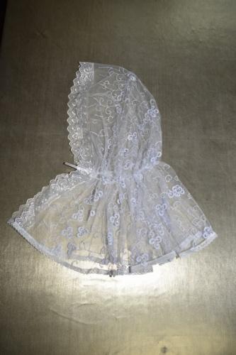 АРТ1707 Ниспадающий Донской платок,с кружевом. Ткань вуаль с вышивкой.