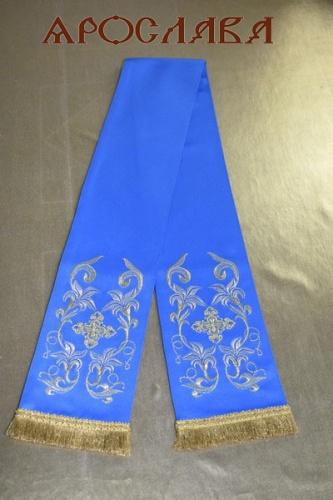 АРТ1760. Заклада в Евангелие голубая с вышивкой рисунок Лилия Мария.Ткань однотонный атласный шелк, 130*13см