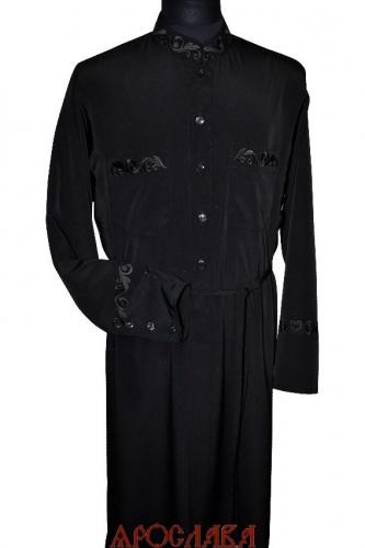 АРТ1770.Подрясник-платье основа греческая,пуговицы до талии.Ткань креп-шелк. Вышивка рис № 18:ворот,нагрудные карманы,манжеты.