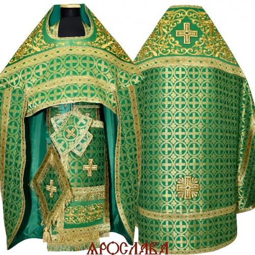 АРТ1774. Риза зеленая парча Мирон. Комбинированная с вышивкой рисунок Аксиос: власяница, окошки епитрахили, низ набедренника.