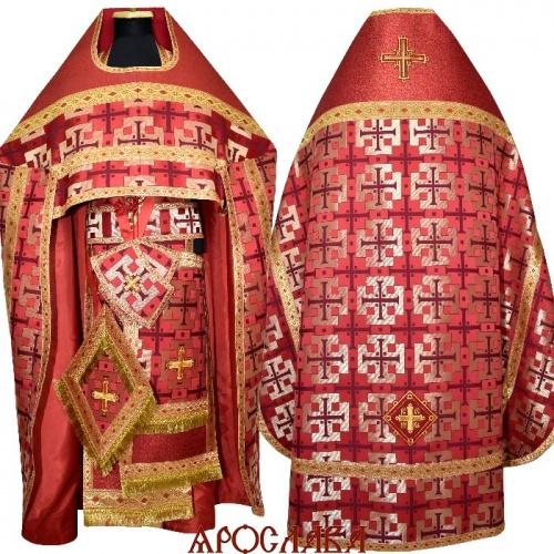 АКЦИЯ. АРТ1780. Риза бордовая парча Архаик. Комбинированная с однотонной парчой Оренбург:власяница,окошки епитрахили,низ набедренника.