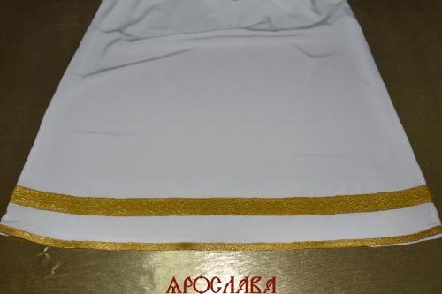 АРТ1807 Подризник с отделкой цветным галуном рисунок Волна (желтый с золотом). Ширина галуна 1,7см и 4см.