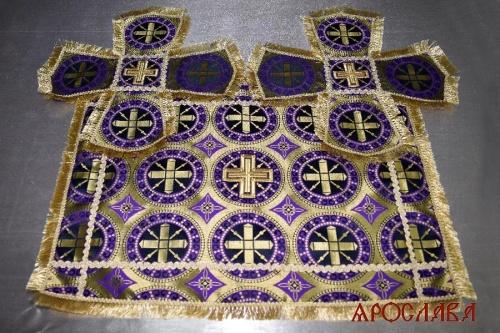 АРТ1842. Покровцы фиолетовые шелк Троицкий, отделка тесьма, бахрома.