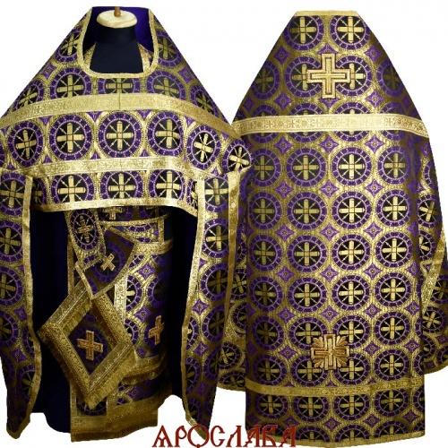 АРТ1845. Риза фиолетовый шелк Троицкий, обыденная отделка(цвет золото).