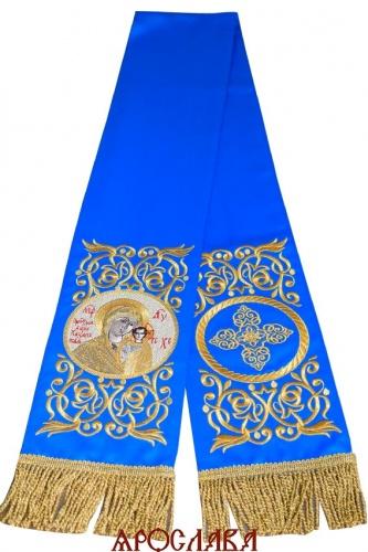 АРТ1860. Заклада Евангелие вышитая рисунок Эфес, с вышитой иконой Казанская Божия Матерь.Размер 150*15,ткань однотонный атласный шелк.