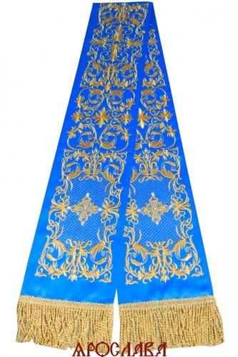 АРТ1865. Заклада в Евангелие с вышивкой рисунок Литургия.Кресты расшиты натуральным жемчугом.Размер 150*15,ткань однотонный атласный шелк.