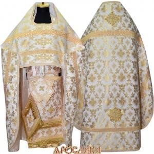 АРТ186. Риза бело-золотой шелк Терновый венец, отделка цветной галун(бело-золотой).