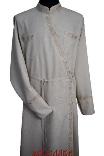 АРТ1884. Подрясник греческий,ткань меланж. Вышивка рис Виноград №19: ворот,нагрудные карманы, манжеты,борт.
