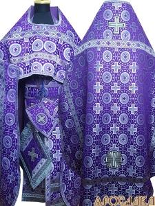 АРТ188. Риза фиолетовый с серебром шелк Мирликийский крест крупный, отделка цветной галун(фиолетовый с серебром).