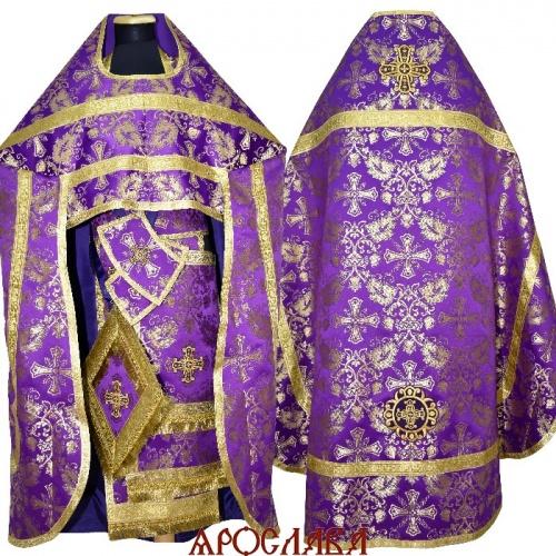 АРТ1901. Риза фиолетовая с золотом шелк Курский, обыденная отделка (цвет золото).