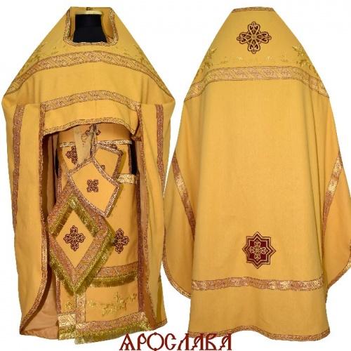 АРТ1925. Риза желтая вышитая рисунок Благородный, ткань лен. Вышитая:власяница, надставка, окошки епитрахили, низ набедренника.