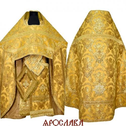 АРТ2021. Риза парча Радонежский, отделка цветной галун (желтый с золотом).