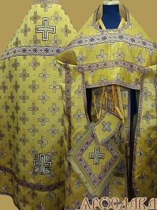 АРТ203. Риза желтый шелк Святительский, отделка цветной галун(бордовый с золотом).