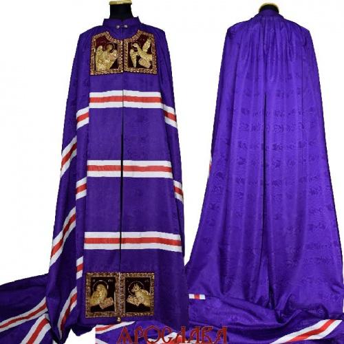 АРТ2047. Архиерейская мантия с вышитыми иконами Евангелистов, ткань греческий муар.