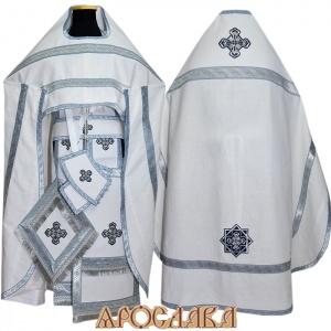 АРТ205. Риза белый лен, отделка цветной галун (голубой с серебром).