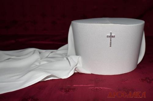 АРТ2064.Клобук архиерейский.Крест серебряный с фианитами.
