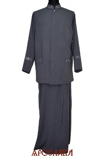 АРТ 2083 Комплект: подрясник-платье основа греческая,вышивка рис №18 ворот,нагрудные карманы,манжеты. Жилет на подкладке, потайная застежка, вышитые прорезные карманы рис №18. Ткань вискоза.