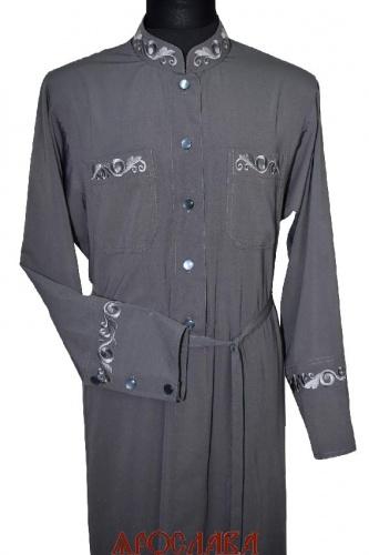 АРТ2084. Подрясник-платье основа греческая,вышивка: ворот,нагрудные карманы,манжеты. Ткань вискоза.